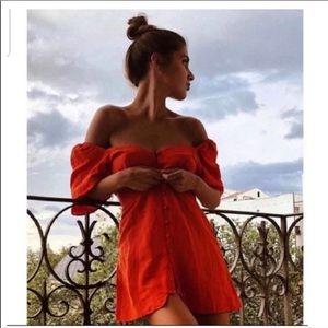 Zara red button front linen puff sleeve dress